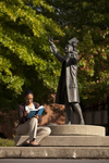 Mel Howard Reading by the Wesley Statue - 12