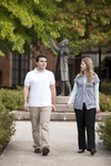 Ben Espinoza and Liz Clay Walking in Wesley Square