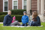 Curtis Elliott and Family in Front of the Admin Building - 5