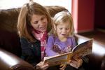 Margaret Elliott Reading to Her Daughter in the Student Center