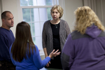 Dr. Christine Pohl Talking with Students in the Classroom - 2