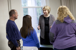 Dr. Christine Pohl Talking with Students in the Classroom - 7