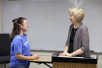 Katie Grover Talking with Dr. Christine Pohl After Class