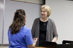 Katie Grover Talking with Dr. Christine Pohl After Class - 2