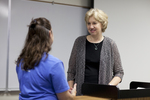 Katie Grover Talking with Dr. Christine Pohl After Class - 3