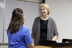 Katie Grover Talking with Dr. Christine Pohl After Class - 4