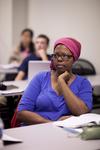 Casondra Radford Listening in Dr. Steve Ybarrola's Class