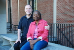 Drs. Craig and Medine Keener In Front of the Library - 6