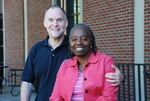 Drs. Craig and Medine Keener In Front of the Library - 8