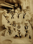 Group of nine sailors representing Vermont Society of the Floating Societies of Christian Endeavor