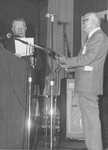 McPheeters, J. C. receiving Holiness Exponent Award from Bishop Henry Ginder