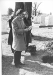 Man participating in reading eulogy or blessing at burial service at Bishops Lot, Baltimore, MD, 1973