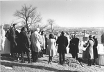People gathered at burial site for the burying of ESJ's ashes at Bishops Lot, Baltimore, MD, 1973