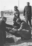 Lowering ESJ's ashes for burial at Bishops Lot, Baltimore, MD, 1973