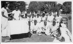 Indian women attending a handiwork class at Bareilly Seminary, India