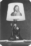 "Wesley lamp with image of Jesus on lamp shade ""The Light of the World"""