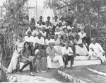 ESJ and Father Lazarus with a group of Indians at the Sat Tal Ashram, 1969