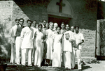 ESJ with group at Sat Tal Ashram Chapel, India, 1960