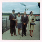 ESJ, Rev and Mrs Onie Kays, J C Tunstill, secretary of Epworth Church , at airport