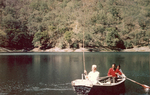 ESJ fishing in Panna Lake on a boat, Sat Tal, India, 1969