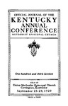 1929 Official Journal of the Kentucky Annual Conference of the Methodist Episcopal Church: The One Hundred and Third Session