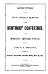 1880 Minutes of the Fifty-Third Session of the Kentucky Conference of the Methodist Episcopal Church by Methodist Episcopal Church