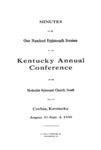1938 Minutes of the One Hundred Eighteenth Session of the Kentucky Annual Conference of the Methodist Episcopal Church, South