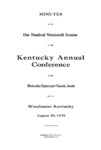 1939 Minutes of The First Session of The Kentucky Annual Conference of The Methodist Church by The Methodist Church