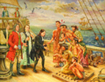 John Wesley with Chief Tomo-chachi on Ship Deck by Richard Douglas
