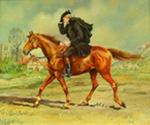 John Wesley on Horseback Wearing a Cloak