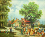 John Wesley Preaching in a Village