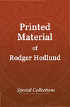 Printed Material of Roger Hedlund: Literacy for Tribals